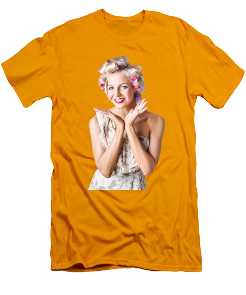 Woman With Rollers In Hair Men's T-Shirt (Slim Fit) by Jorgo Photography - Wall Art Gallery
