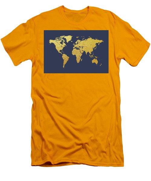 World Map Gold Foil Men's T-Shirt (Athletic Fit)