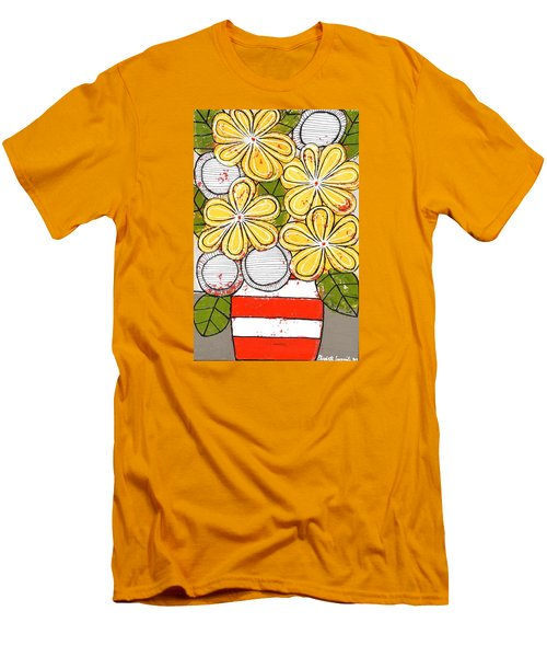 Yellow And White Flowers Men's T-Shirt (Athletic Fit)