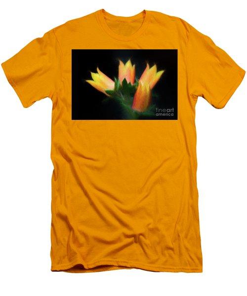 Yellow Cactus Flowers Men's T-Shirt (Slim Fit) by Darleen Stry