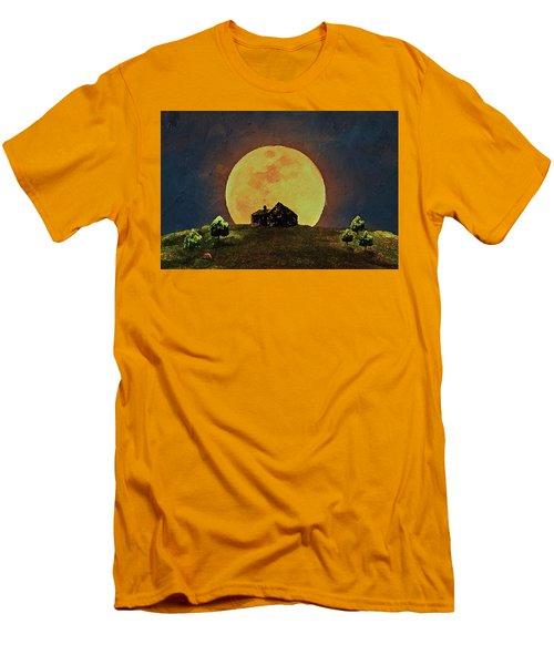 Men's T-Shirt (Athletic Fit) featuring the digital art Yellow Full Moon  by PixBreak Art