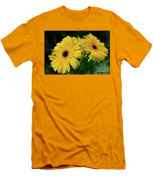 Men's T-Shirt (Slim Fit) featuring the photograph Yellow Gerbera Daisies By Kaye Menner by Kaye Menner