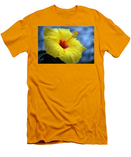 Men's T-Shirt (Slim Fit) featuring the photograph Yellow Hibiscus by Debbie Karnes