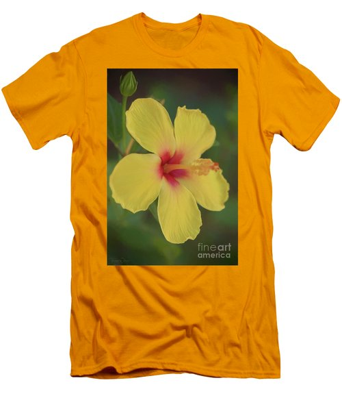Yellow Hibiscus Profile Men's T-Shirt (Athletic Fit)