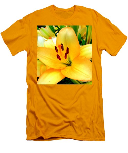 Men's T-Shirt (Slim Fit) featuring the photograph Yellow Lilies 1 by Randall Weidner