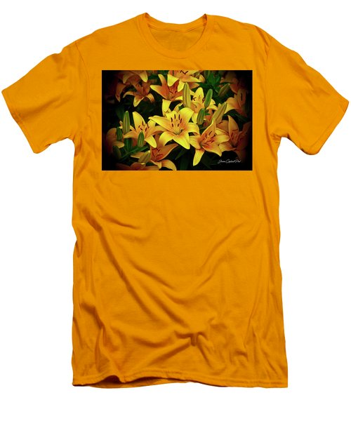 Men's T-Shirt (Slim Fit) featuring the photograph Yellow Lilies by Joann Copeland-Paul
