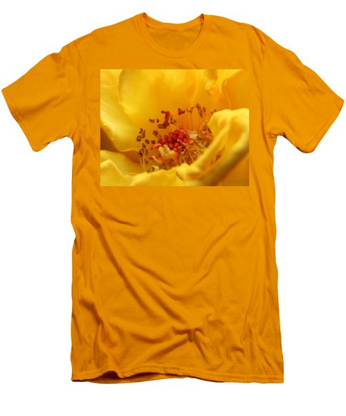 Men's T-Shirt (Slim Fit) featuring the photograph Yellow Mini Macro by Marna Edwards Flavell