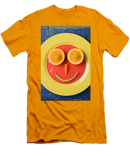 Yellow Plate With Food Face Men's T-Shirt (Slim Fit) by Garry Gay