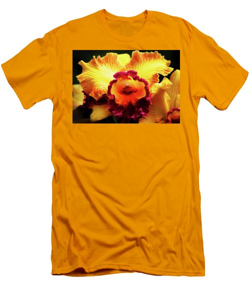 Men's T-Shirt (Slim Fit) featuring the photograph Yellow-purple Orchid by Anthony Jones