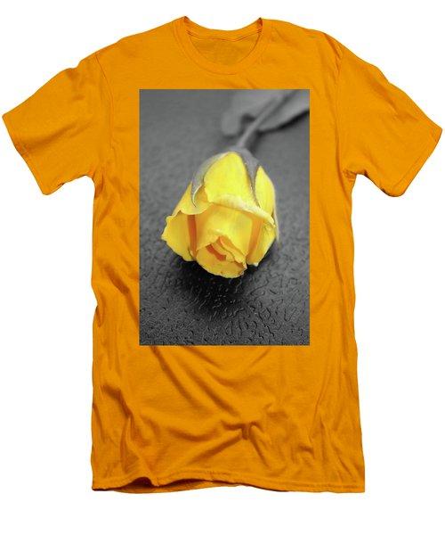 Yellow Rose Men's T-Shirt (Slim Fit) by Angel Jesus De la Fuente