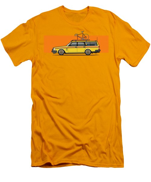 Yellow Volvo 245 Wagon With Roof Rack And Vintage Bicycle Men's T-Shirt (Athletic Fit)