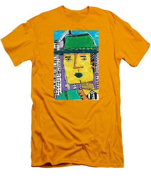 Men's T-Shirt (Slim Fit) featuring the tapestry - textile Yellowman by Don Koester
