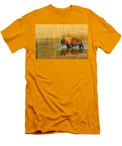 Men's T-Shirt (Slim Fit) featuring the photograph Yellowstone Solo Swimmer by Adam Jewell