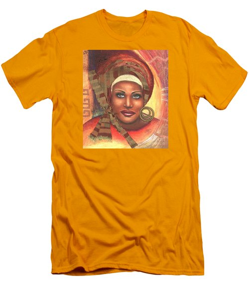 Men's T-Shirt (Slim Fit) featuring the mixed media Yes . . . One Woman Can . . .  by Alga Washington
