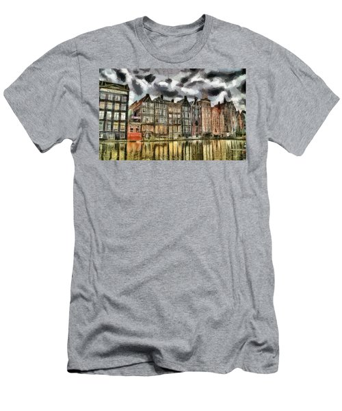 Men's T-Shirt (Slim Fit) featuring the painting  Amsterdam Water Canals by Georgi Dimitrov