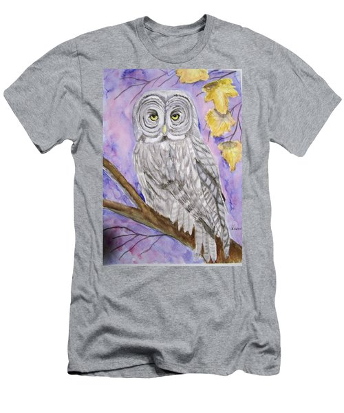 Men's T-Shirt (Slim Fit) featuring the painting  Grey Owl by Belinda Lawson