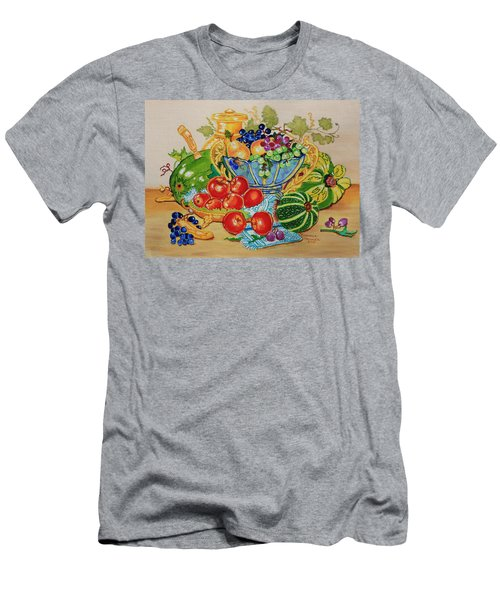 Red Apples And  Grapes Oil Painting Men's T-Shirt (Athletic Fit)