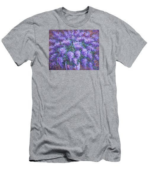 Men's T-Shirt (Slim Fit) featuring the painting  Scented Lilacs Bouquet by Natalie Holland