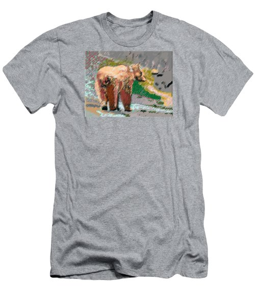 081914 Pastel Painting Grizzly Bear Men's T-Shirt (Athletic Fit)