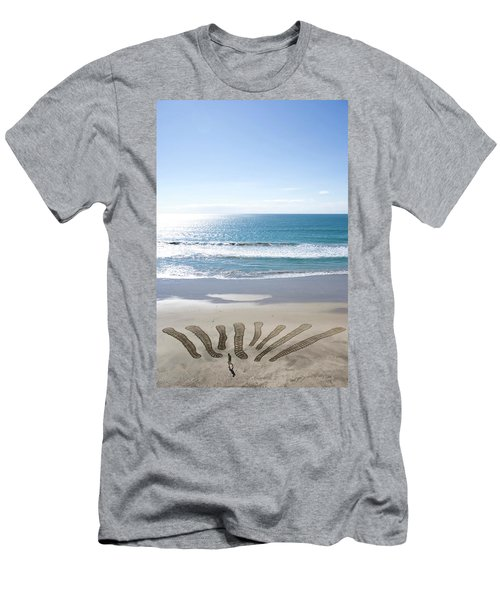 Adult Man Working On A Large Sand Men's T-Shirt (Athletic Fit)