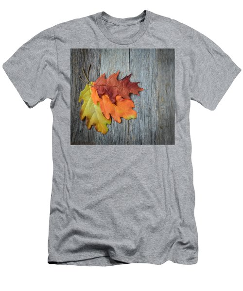 Autumn Leaves On Rustic Wooden Background Men's T-Shirt (Athletic Fit)