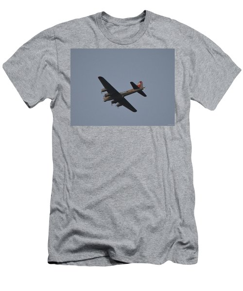 B-17 Flying Fortress Wwii Bomber Over Santa Rosa Sound At Twilight Men's T-Shirt (Slim Fit) by Jeff at JSJ Photography