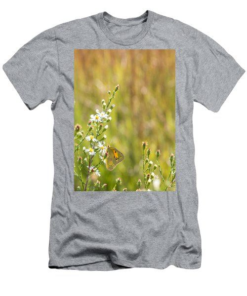 Butterfly In A Field Of Flowers Men's T-Shirt (Athletic Fit)