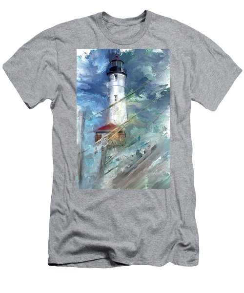 Crisp Point Lighthouse Michigan Men's T-Shirt (Athletic Fit)