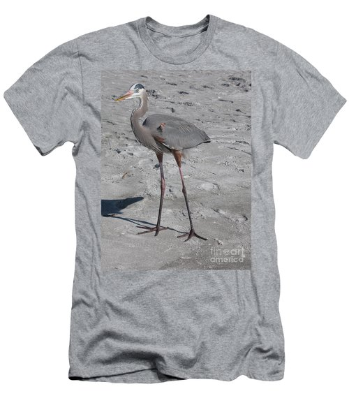 Men's T-Shirt (Slim Fit) featuring the photograph Great Blue Heron On The Beach by Christiane Schulze Art And Photography