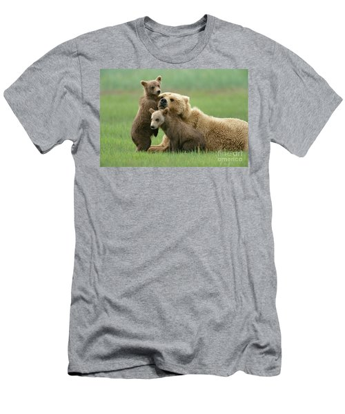 Grizzly Cubs Play With Mom Men's T-Shirt (Athletic Fit)