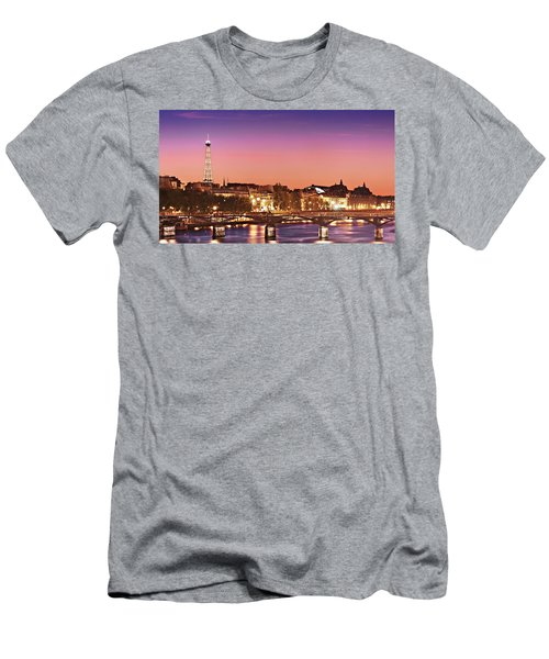 Left Bank At Night / Paris Men's T-Shirt (Athletic Fit)