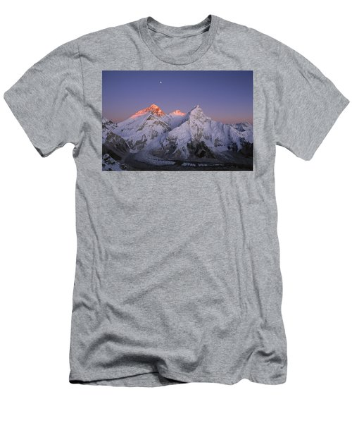 Men's T-Shirt (Athletic Fit) featuring the photograph Moon Over Mount Everest Summit by Grant  Dixon