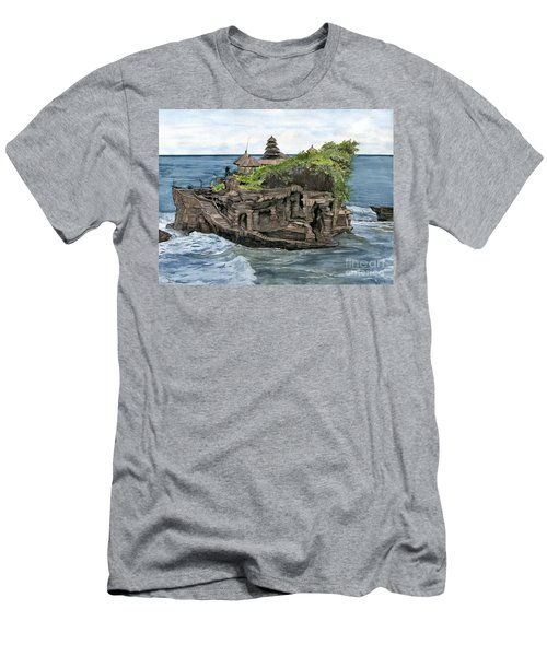 Men's T-Shirt (Slim Fit) featuring the painting Tanah Lot Temple Bali Indonesia by Melly Terpening