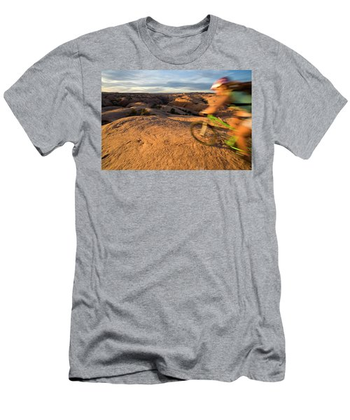 Woman Mountain Biking, Moab, Utah Men's T-Shirt (Athletic Fit)