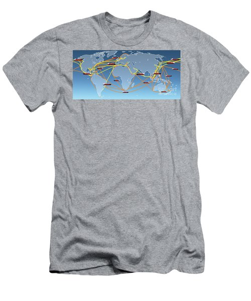 World Shipping Routes Map Men's T-Shirt (Athletic Fit)