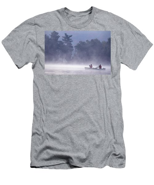 Youngmiddle-aged Couple Paddling Canoe Men's T-Shirt (Athletic Fit)