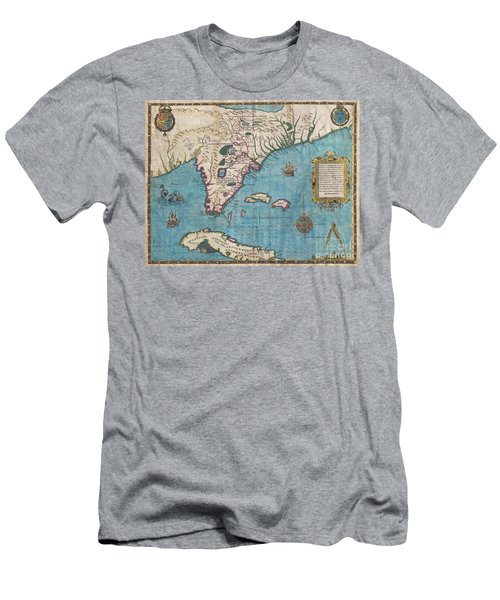 1591 De Bry And Le Moyne Map Of Florida And Cuba Men's T-Shirt (Athletic Fit)