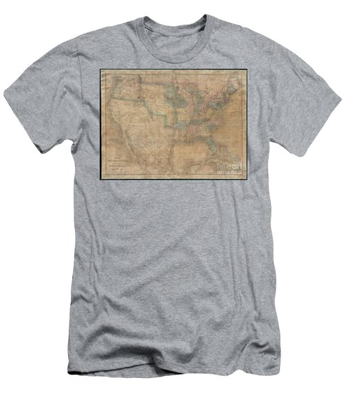 1839 Burr Wall Map Of The United States  Men's T-Shirt (Athletic Fit)