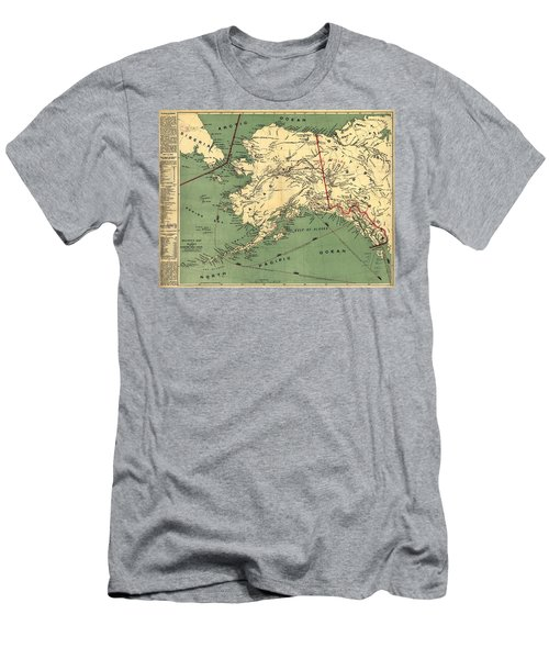 Men's T-Shirt (Slim Fit) featuring the photograph 1897 Map Of Alaska by Charles Beeler
