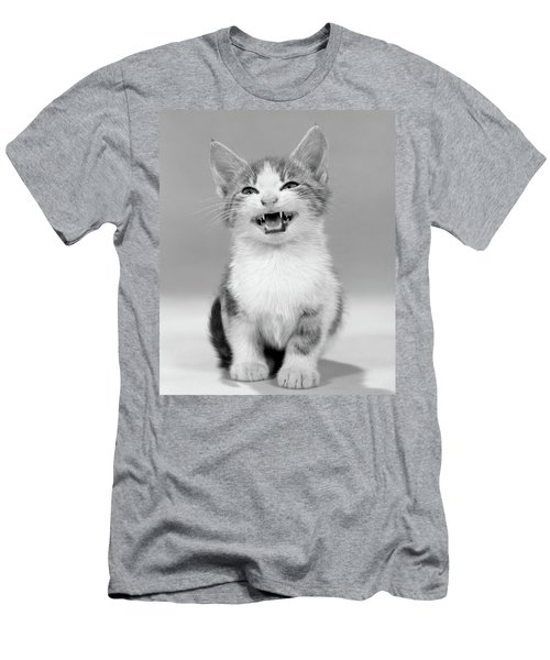 1960s Meowing Kitten Tabby Spots Mouth Men's T-Shirt (Athletic Fit)