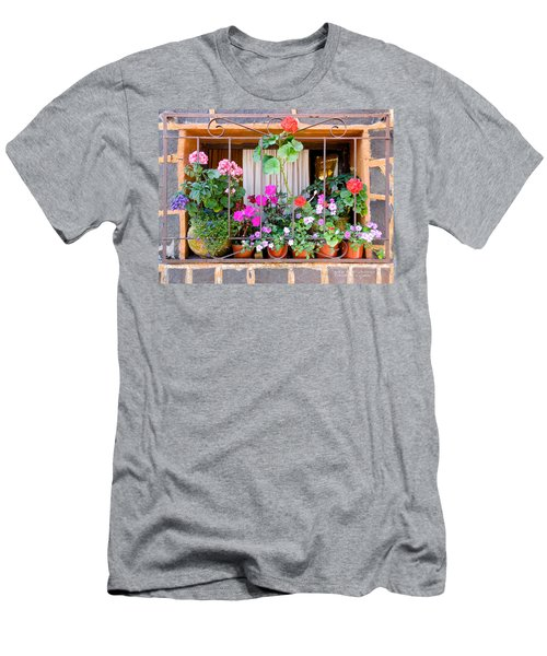 Flowers In A Mexican Window Men's T-Shirt (Athletic Fit)