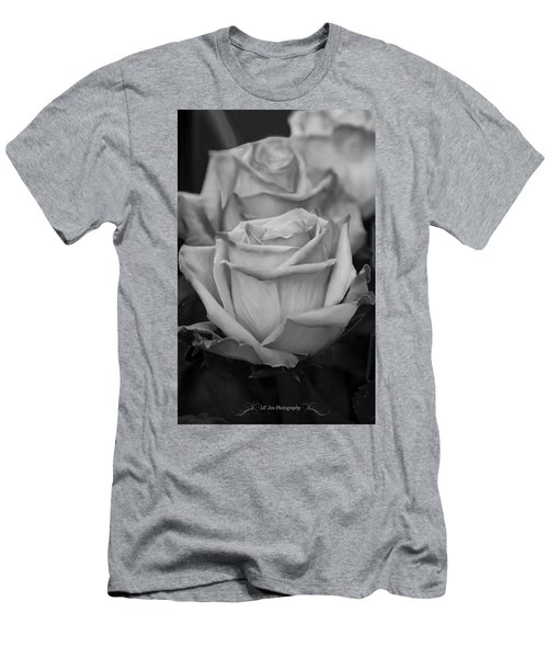 Tea Roses In Black And White Men's T-Shirt (Athletic Fit)