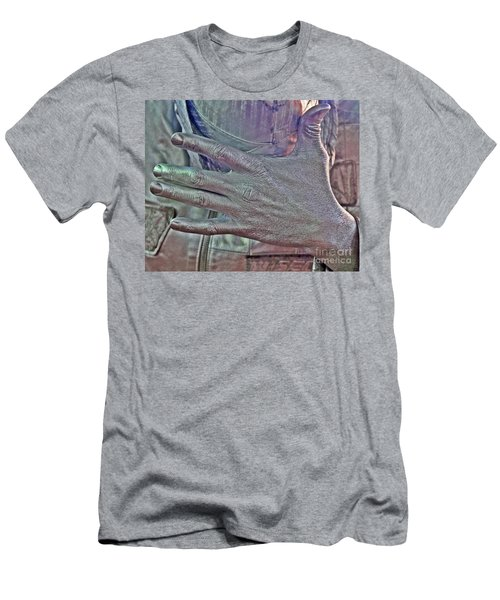 Men's T-Shirt (Slim Fit) featuring the photograph Tin Man Hand by Lilliana Mendez