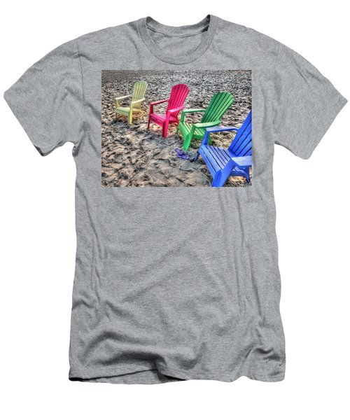 Men's T-Shirt (Slim Fit) featuring the digital art 4 Beach Chairs by Michael Thomas