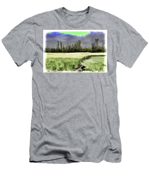 Mustard Fields In Kashmir Men's T-Shirt (Athletic Fit)