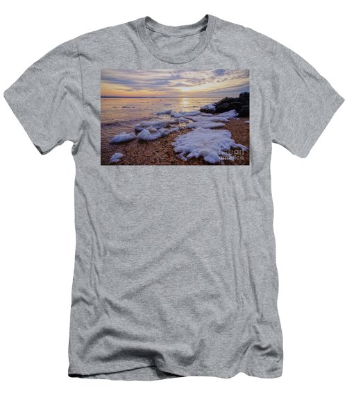 Men's T-Shirt (Slim Fit) featuring the photograph A Cold Sandy Hook Winter by Debra Fedchin
