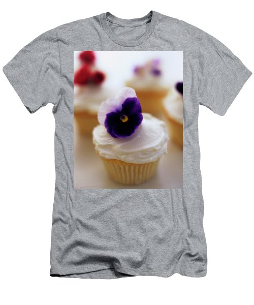 A Cupcake With A Violet On Top Men's T-Shirt (Athletic Fit)