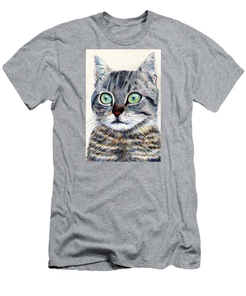 Men's T-Shirt (Slim Fit) featuring the painting A Grey Tabby by Jingfen Hwu