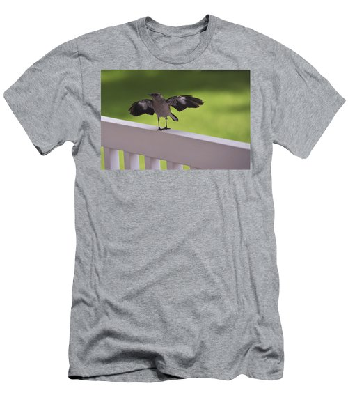 A Little Visitor Northern Mockingbird Men's T-Shirt (Slim Fit) by Terry DeLuco