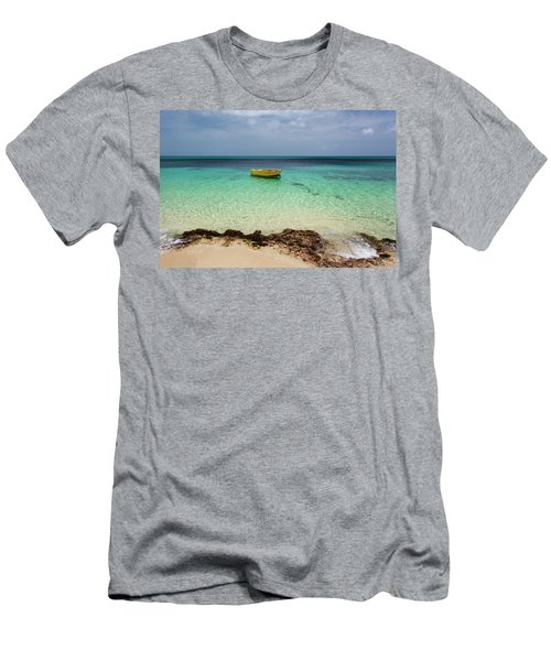 A Lone Boat In The Turquoise Water Men's T-Shirt (Athletic Fit)